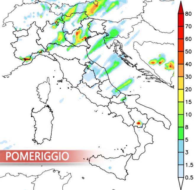 Piogge e temporali diurni previsti dal Lam by 3bmeteo