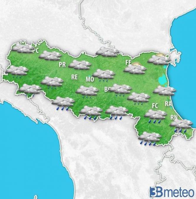 Piogge in Appennino e in Romagna nella notte tra mercoledì e giovedì sull'Emilia Romagna
