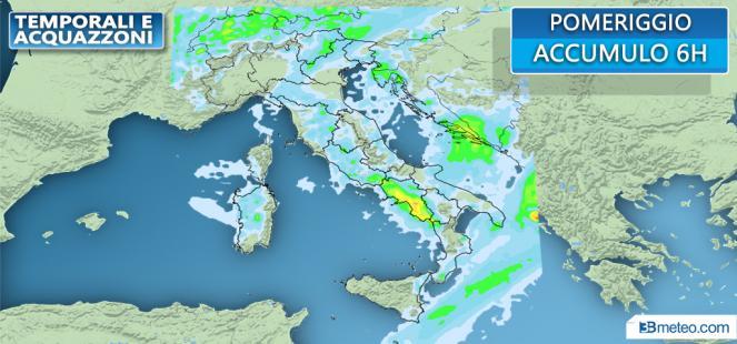 Piogge previste nelle prossime ore