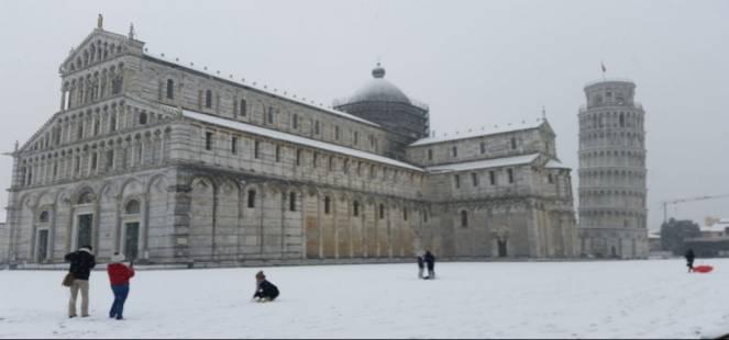 Pisa innevata. Foto di Valeria Iacopino
