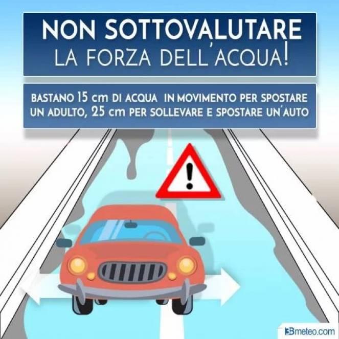 Pochi centimetri di acqua possono addirittura sollevare e spostare un'automobile.