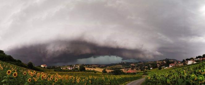 Poderosa Shelf Cloud, fotografata nell'anconetano, foto di Francesco Serrapica