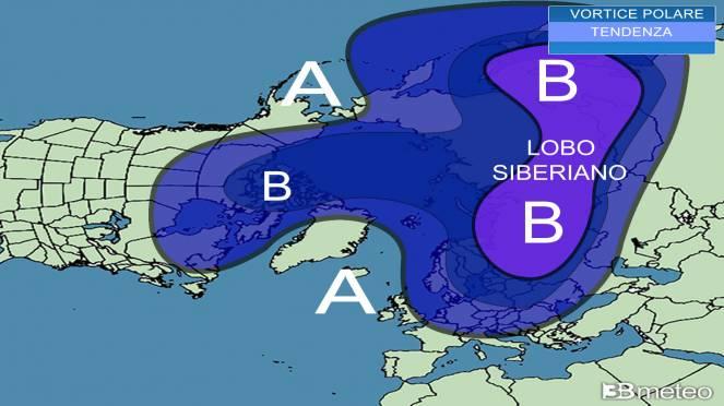 possibile evoluzione del vortice polare