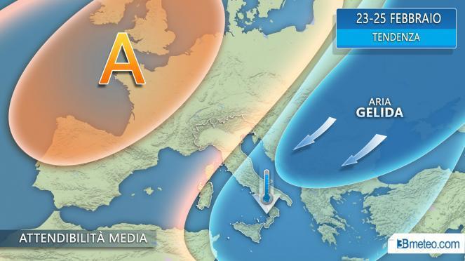 Possibile ondata di aria fredda al Sud verso il weekend