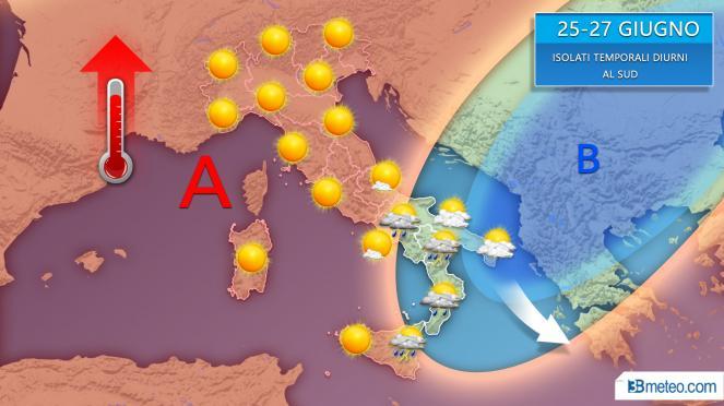 Possibili piovaschi o temporali diurni al Sud tra martedì e giovedì