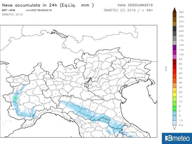Precipitazioni nevose previste per sabato 19 gennaio (FONTE: WRF 3BMeteo)