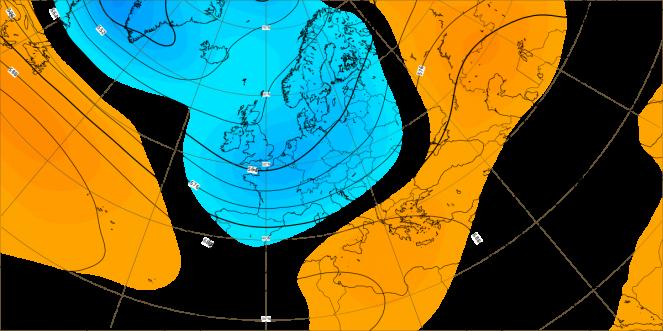 Prima decade di agosto. Anomalie altezza di geopotenziale a 500 hPa