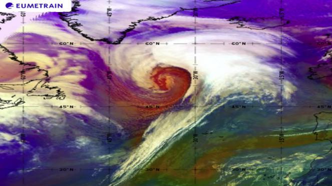 profondo ciclone extratropicale in sviluppo sul Nord Atlantico