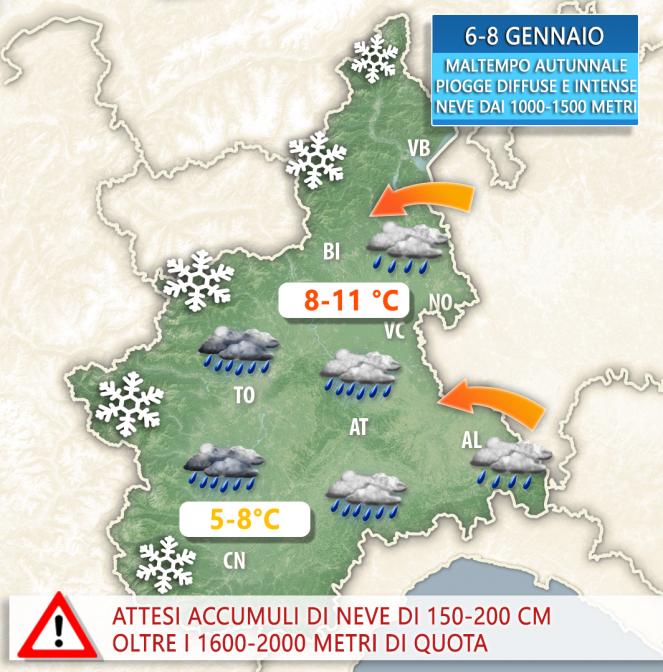 Pioggia e neve,allerta maltempo Piemonte