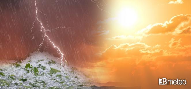 Prossimi giorni tra gran caldo e forti temporali con grandine