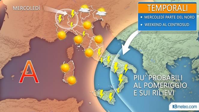 Meteo prossimi giorni: sole e caldo, con temporali pomeridiani nelle zone interne
