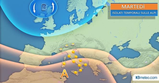 Qualche temporale martedì su Alpi e Prealpi