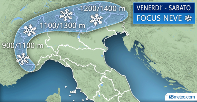 Quota neve attesa sulle Alpi tra venerdì e sabato