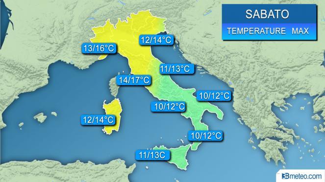 Range di temperature massime previsto sull'Italia nella giornata di sabato