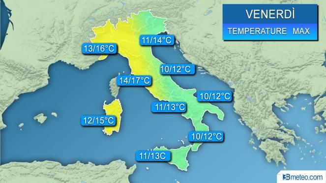 Range di temperature massime previsto sull'Italia nella giornata di venerdì