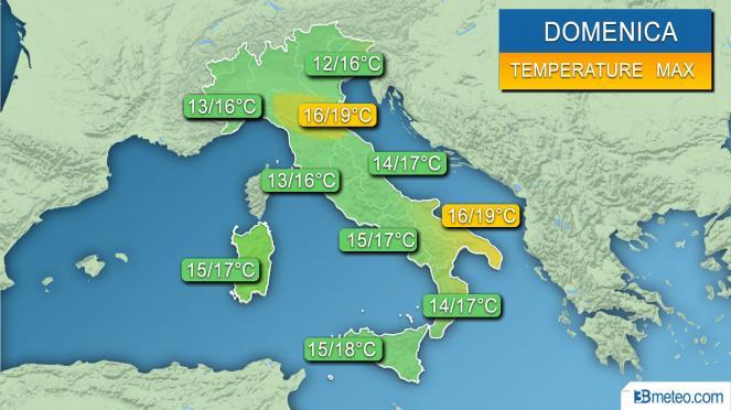 Range temperature Italia domenica