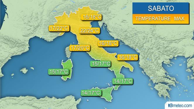 Range temperature Italia sabato