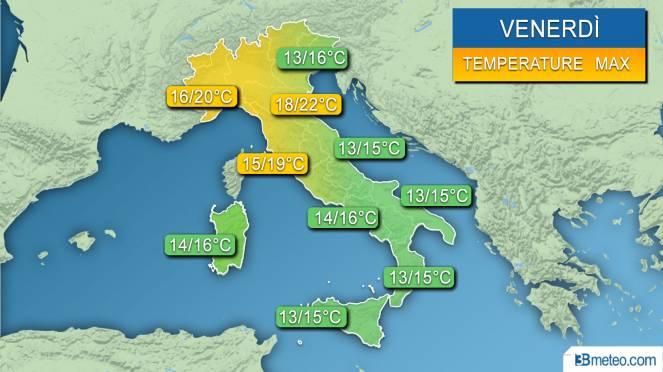 Range temperature Italia venerdì