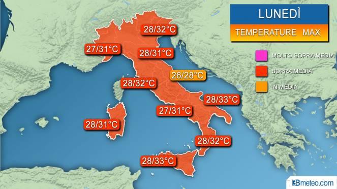 Range temperature massime previste lunedì