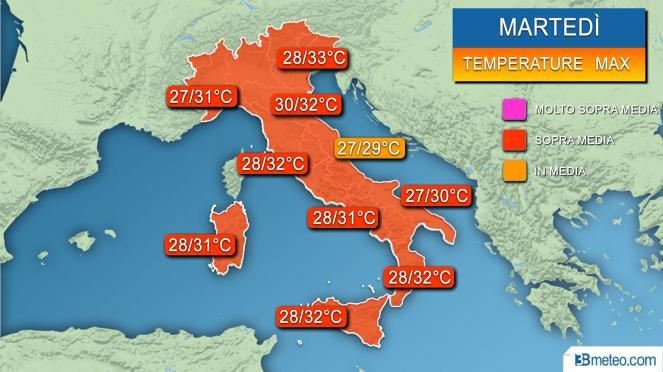 Range temperature massime previste martedì
