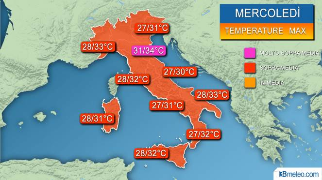 Range temperature massime previste mercoledì