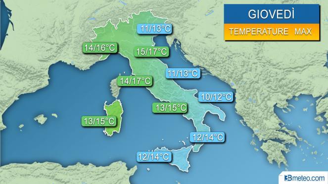 Range temperature massime previste per giovedì