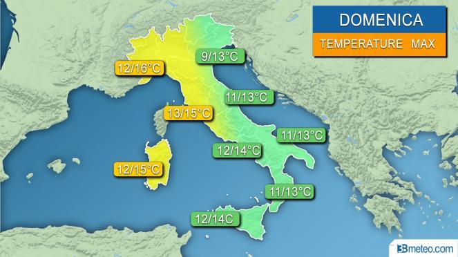 Range temperature massime previsto per la giornata di domenica
