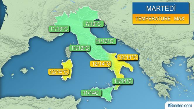 Range temperature massime previsto per la giornata di martedì