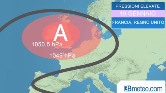 raro intenso anticiclone sull'Europa occidentale