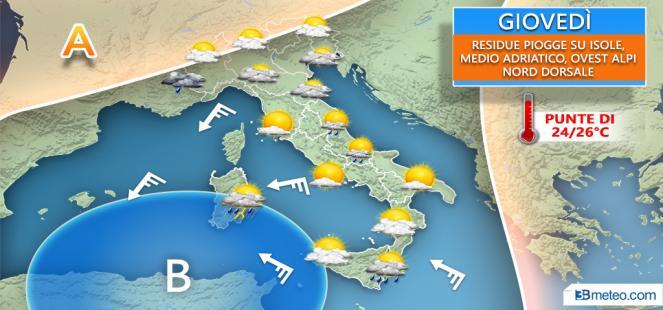 Tra sole e nuovi acquazzoni; temperature SOPRA LA MEDIA e punte di oltre 25°C