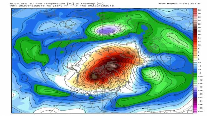 riscaldamento stratosferico avvero notevole