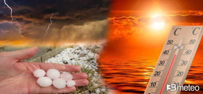 WEEKEND, TEMPORALI FORTI al NORD con nubifragi e GRANDINE; oltre i 40°C al Sud