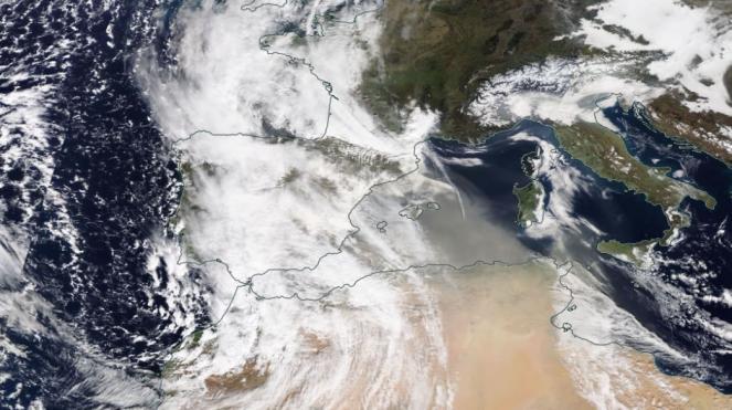 Sabbia sahariana in arrivo sull'Italia, sat di domenica 21 febbraio (EOSDIS)