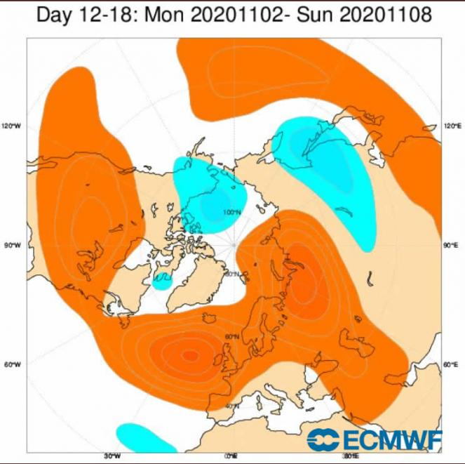 scenario a 500 hPa 2-9 novembre (fonte ecmwf)
