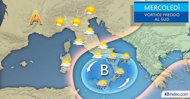 Scenario atteso sull'Italia per mercoledì