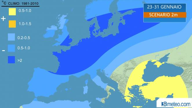 scenario fine gennaio, anomalie temperature