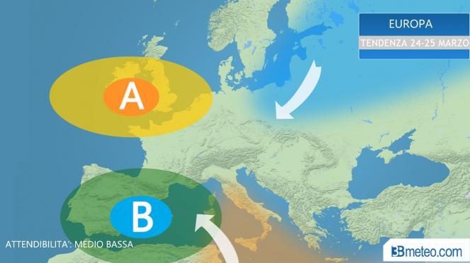 scenario piovoso per l'Europa sud occidentale?
