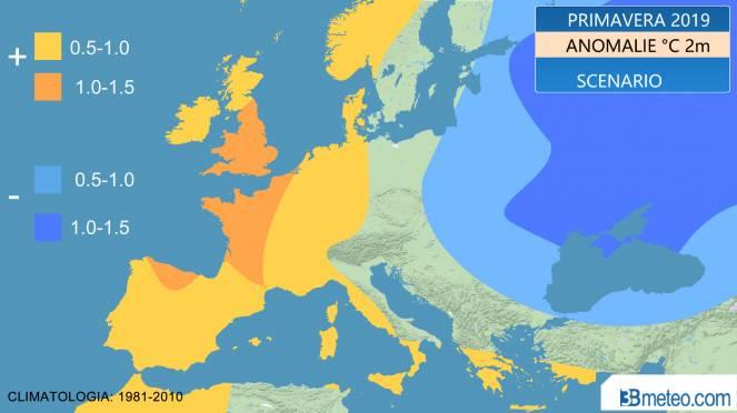 scenario primavera 2019: anomalie temperature attese