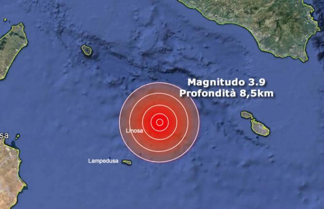 Scossa di terremoto di M 3.9 nello Stretto di Sicilia, epicentro Linosa