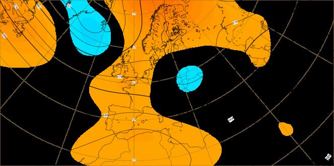 Seconda decade di agosto. Anomalie altezza di geopotenziale a 500 hPa. Dati ECMWF