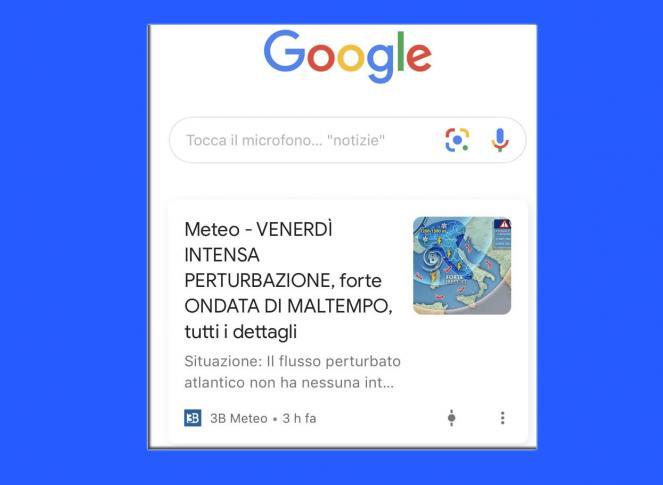 Segui 3bmeteo su Google Discover!