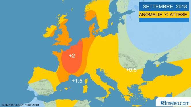 settembre, anomalie temperature