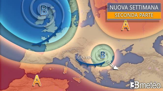 Sinottica Italia Europa seconda parte della nuova settimana, inizio ottobre