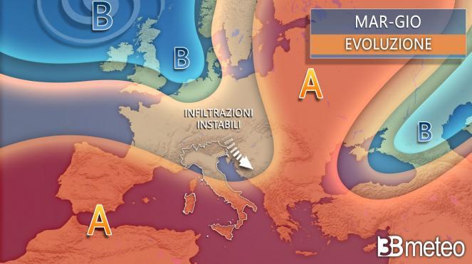 Sinottica media Italia-Europa fino a giovedì