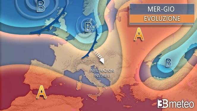 Sinottica meteo mercoledì-giovedì Italia, Europa