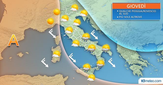 Situazione meteo di giovedì