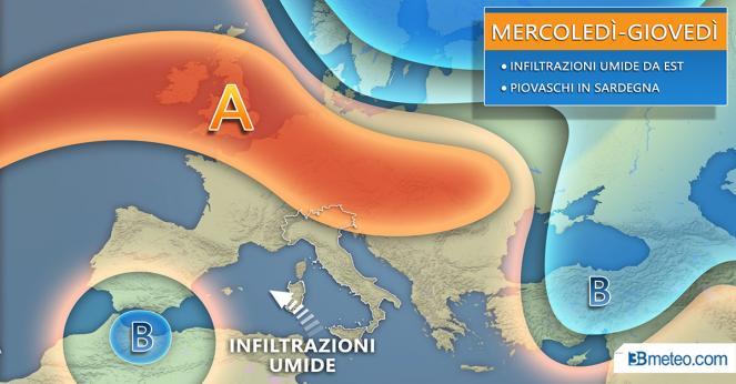 Situazione meteo in Italia in settimana
