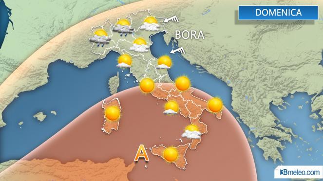 Situazione meteo per domenica 12 Agosto