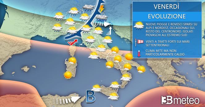 Situazione meteo per venerdì