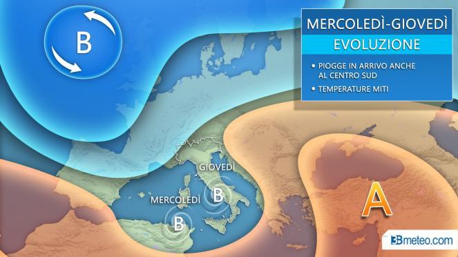 Situazione meteo tra mercoledì e giovedì
